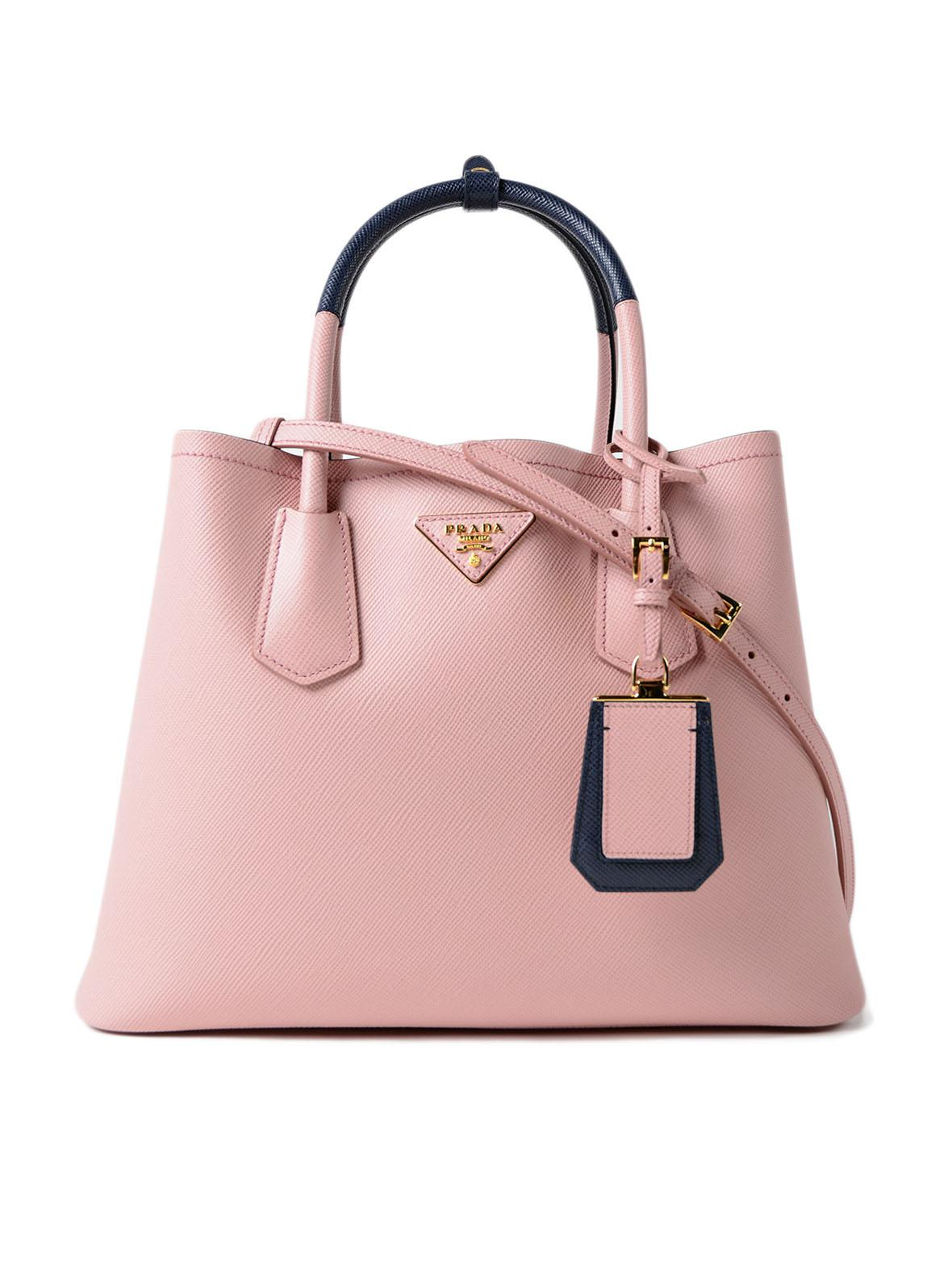 6074149993 Lyst - Prada Saffiano Cuir Double Bag in Pink