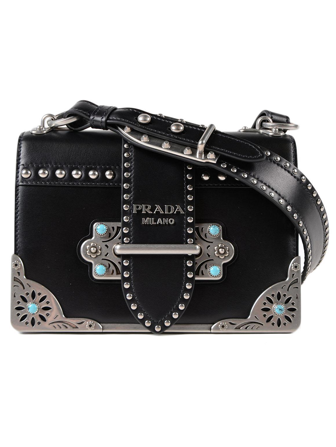 Prada City Calf Cahier Bag in Black - Lyst c0636f13a6d36