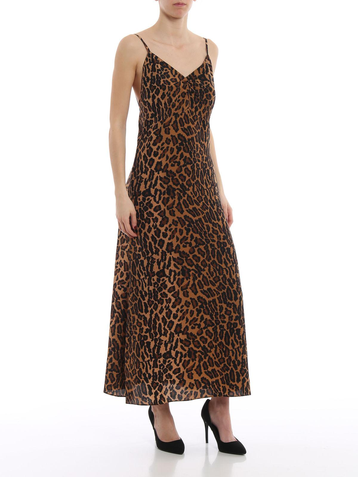 c98c408dd9 Lyst - Miu Miu Leo Printed Silk Slip Dress in Brown - Save  25.768321513002363%
