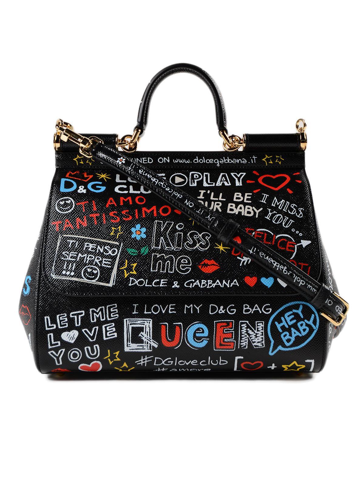 Lyst - Dolce   Gabbana St.dauphine Printed Handbag in Black 3ddd3e9cdb