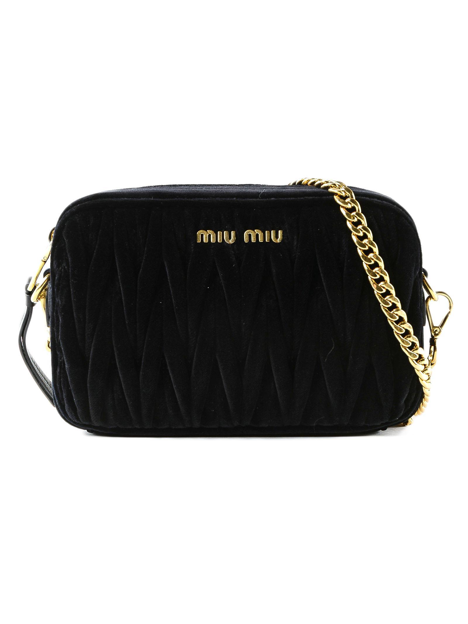 45feb25129e9 Miu Miu - Black Velvet Crossbody Bag - Lyst. View fullscreen