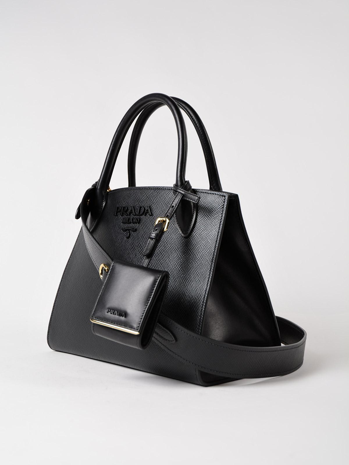 20e47431f37a Lyst - Prada Saff.cuir+city Calf Monochrome Bag in Black