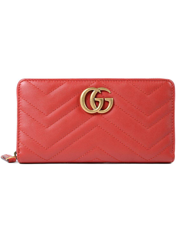 3696a65c2dea87 Lyst - Gucci GG Marmont 2.0 Zip Around Wallet in Red
