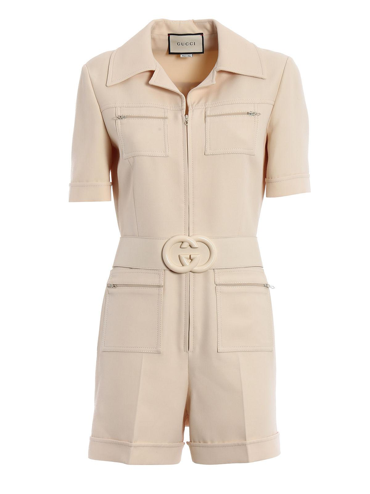 2649a1988bd Gucci Cady Crepe Wool Jumpsuit in Natural - Lyst