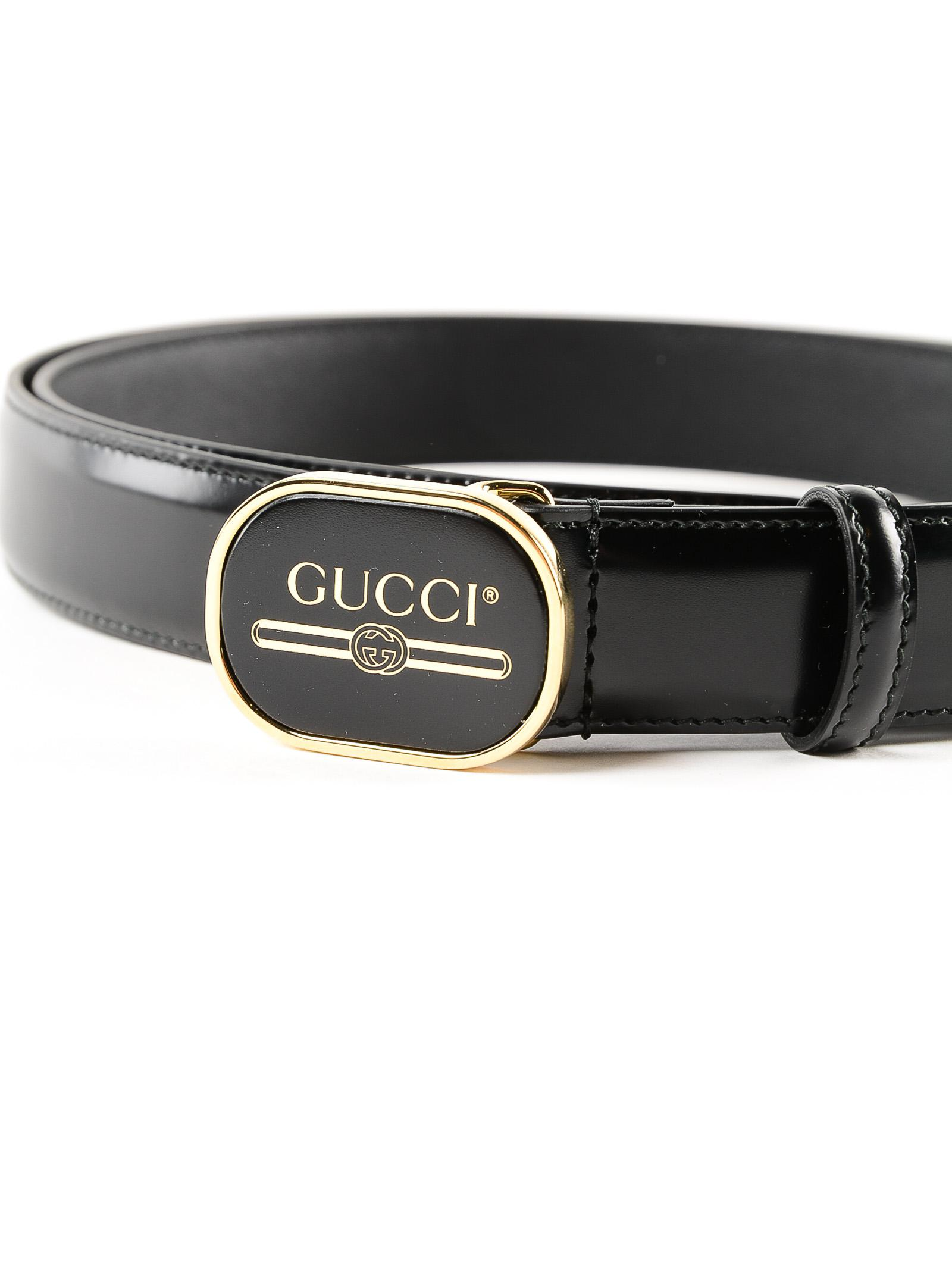 13b51ce9c35 Lyst - Gucci Print Calf Belt in Black for Men