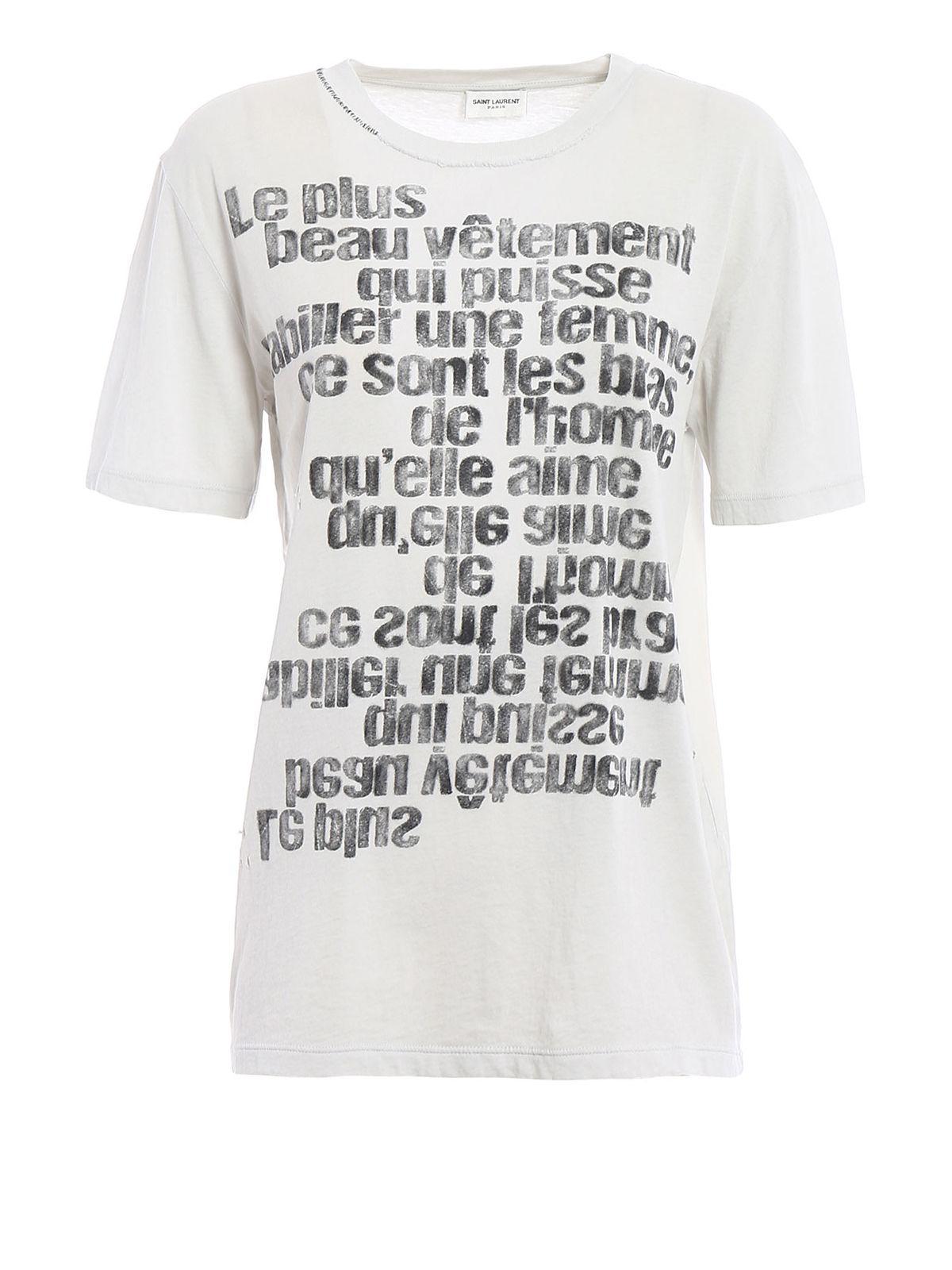 Lyst saint laurent t shirt quote printed in white for Saint laurent t shirt
