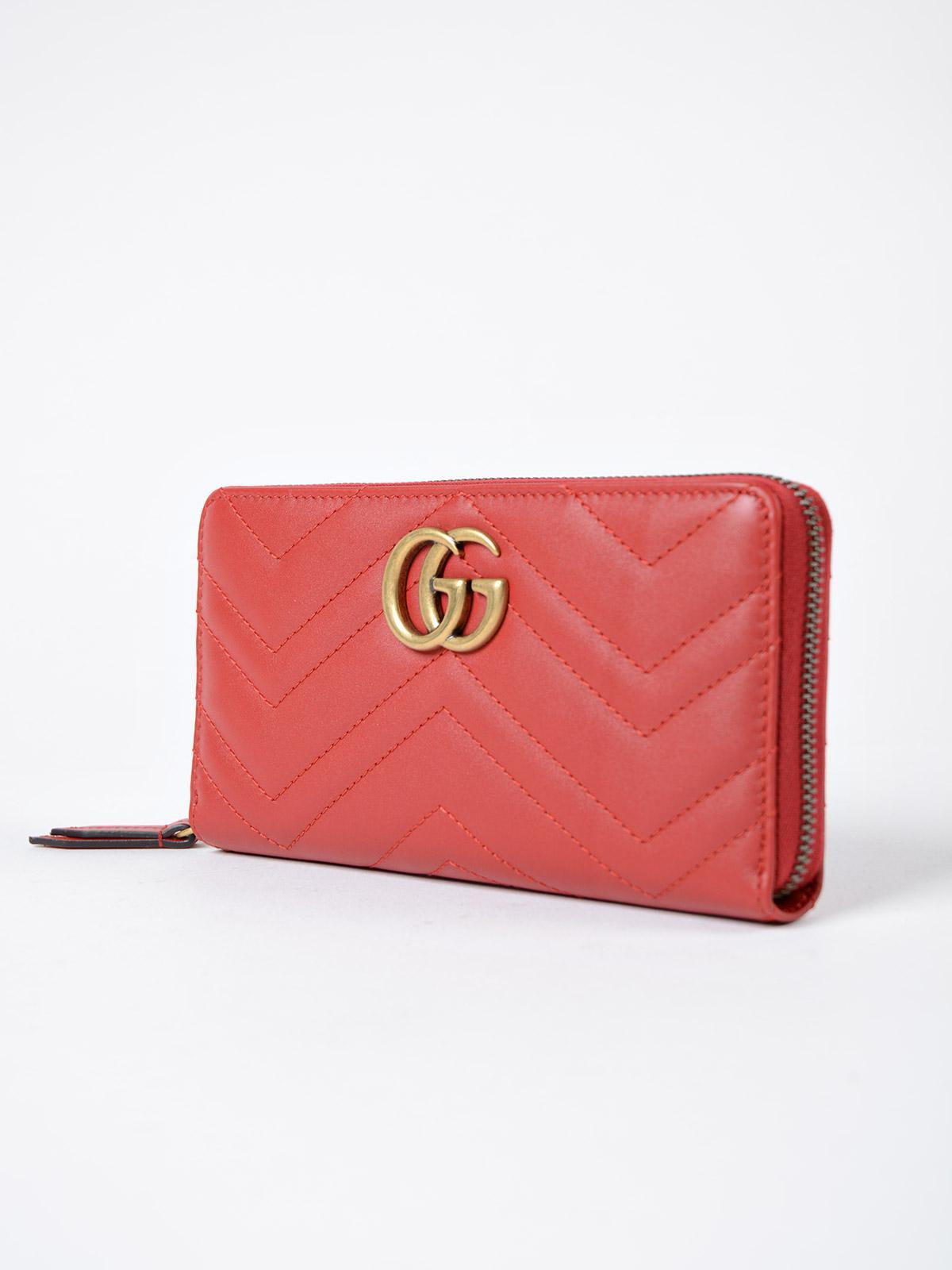 b8af3818d56006 Gucci GG Marmont 2.0 Zip Around Wallet in Red - Save 4% - Lyst