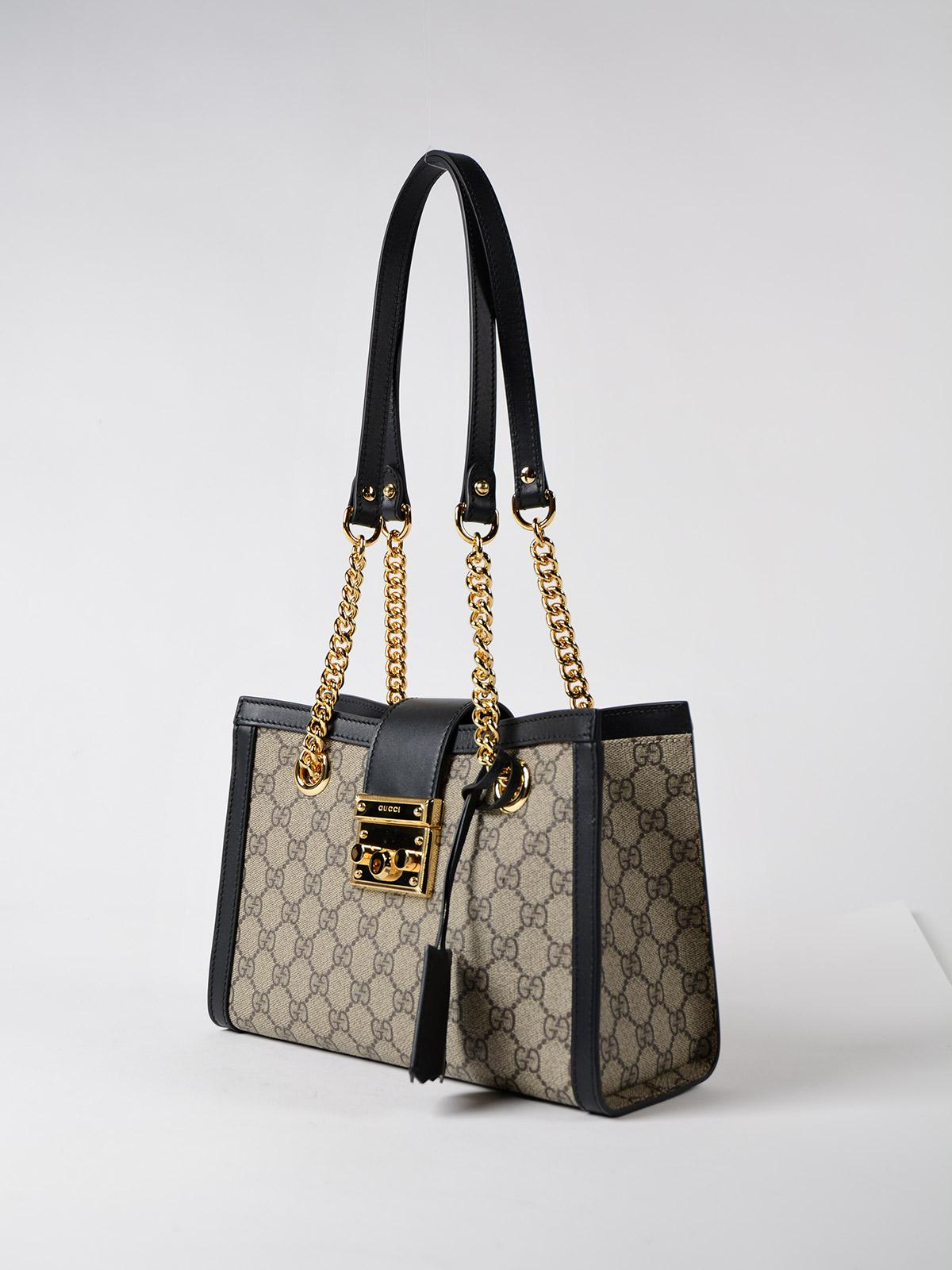 81c15092f9a Lyst - Gucci Gg Supreme Padlock Bag in Black
