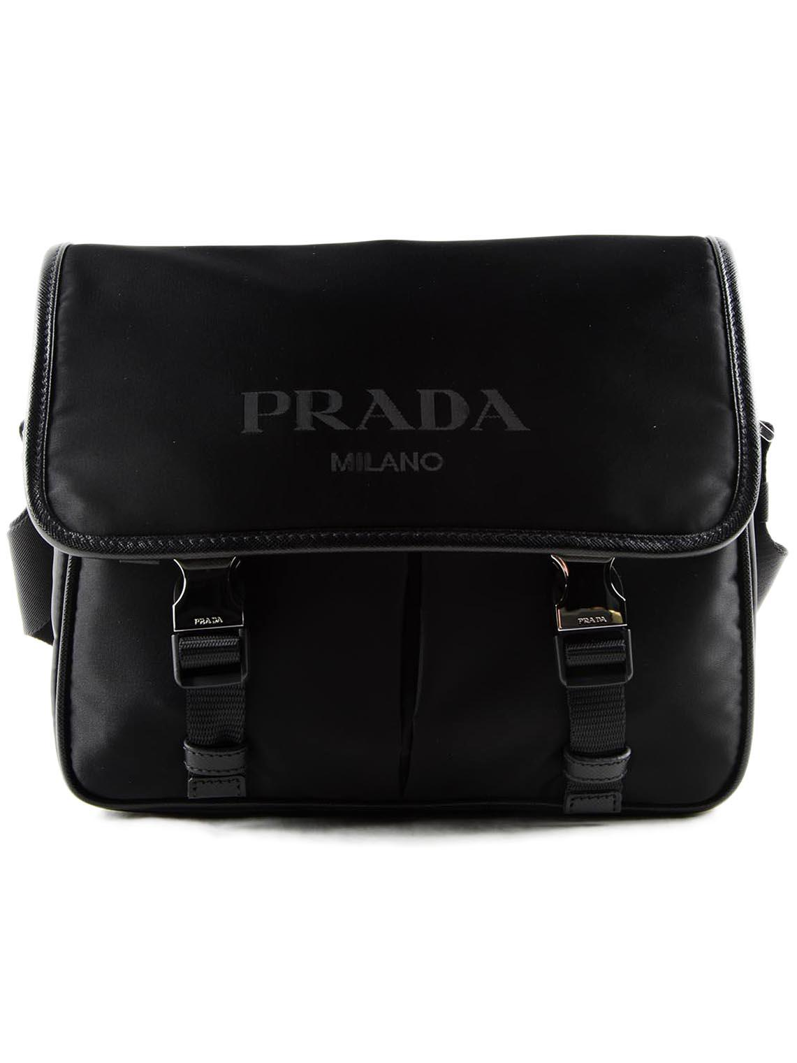42a3aee2dd7157 ... spain prada black tessutosaffiano messenger for men lyst. view  fullscreen 6222a ed7fa