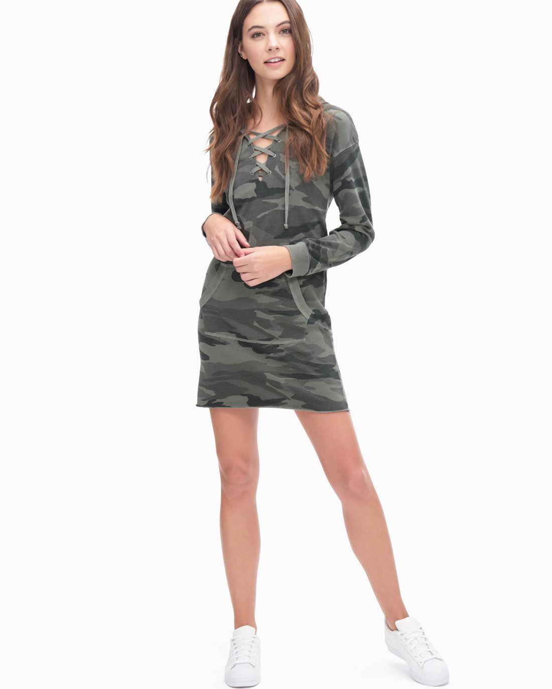 e20880df6b33e Lyst - Splendid Camo Active Sweatshirt Dress in Gray