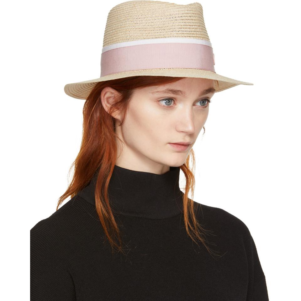 Beige and Pink Straw Andre Trilby Maison Michel 4Q6hMUgi
