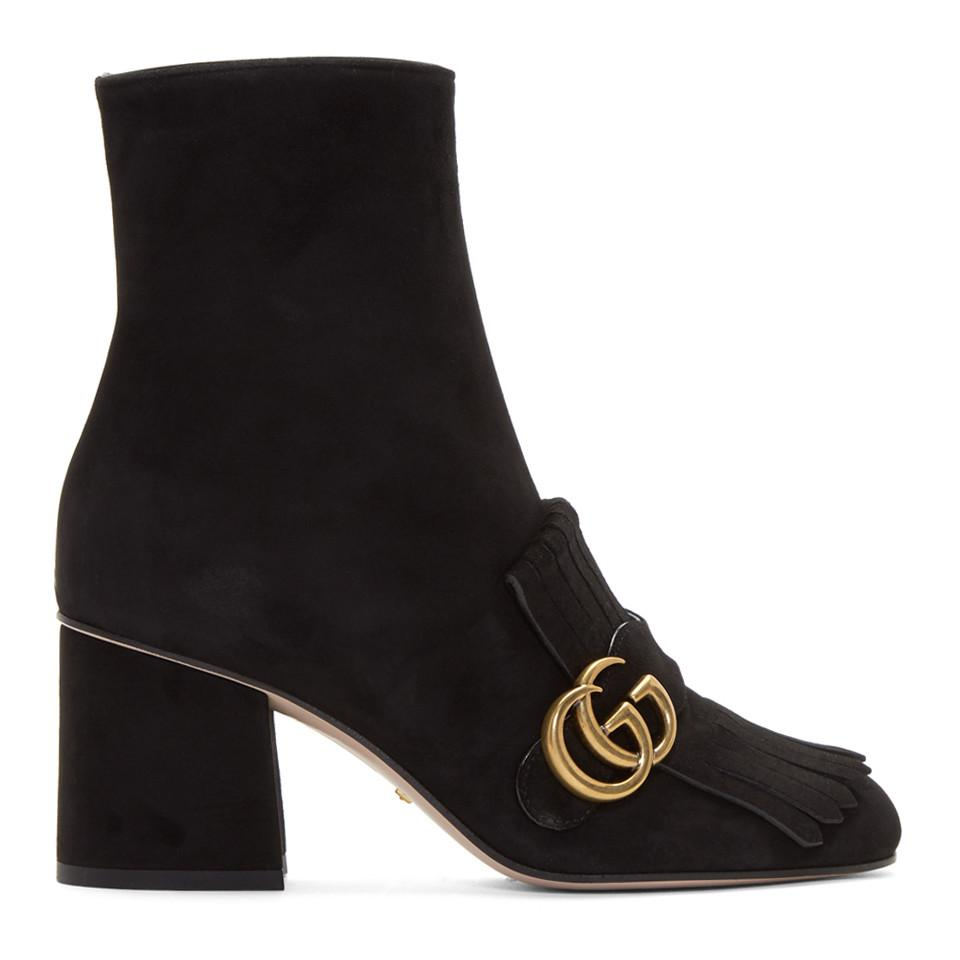 c25975fb9 Gucci - Black Suede GG Marmont Boots - Lyst. View fullscreen