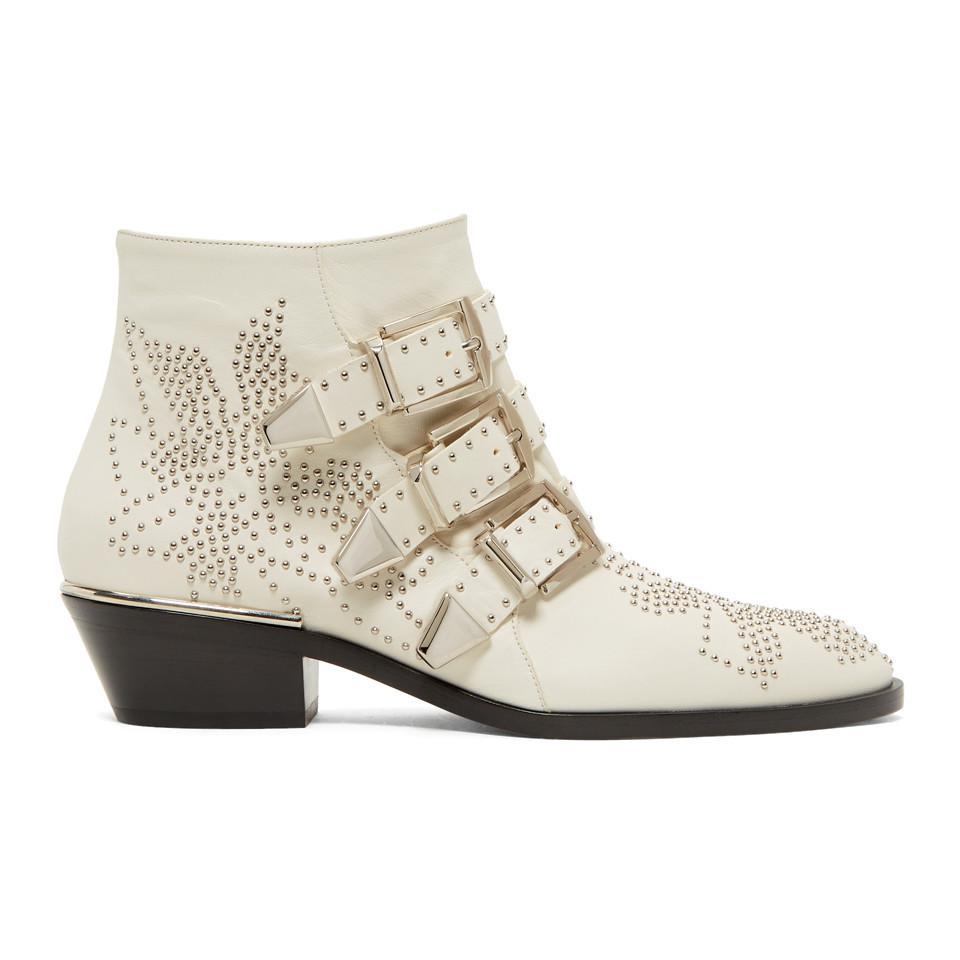 Chloé White & Silver Susanna Boots