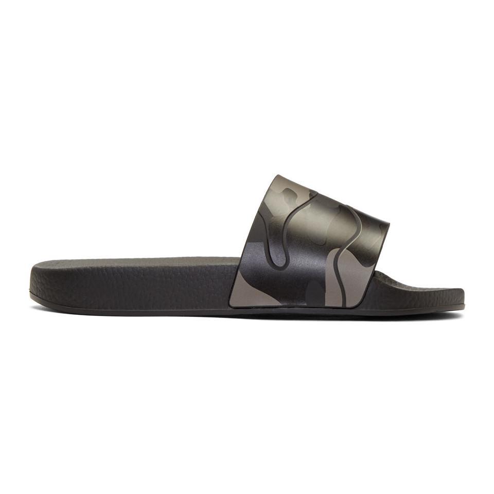 Valentino Black Valentino Garavani Camo Slides