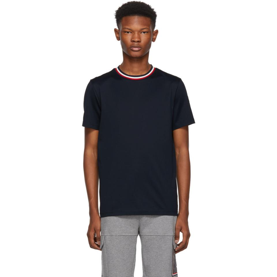 147edbb78644 Moncler Navy Maglia Contrast Collar T-shirt in Blue for Men - Lyst