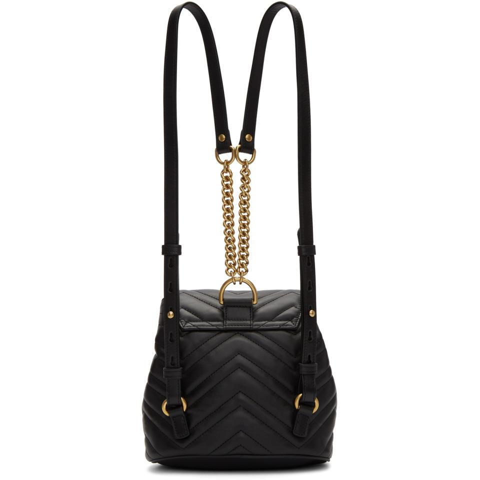 802081a05625 Gucci Black Mini GG Marmont 2.0 Backpack in Black - Lyst