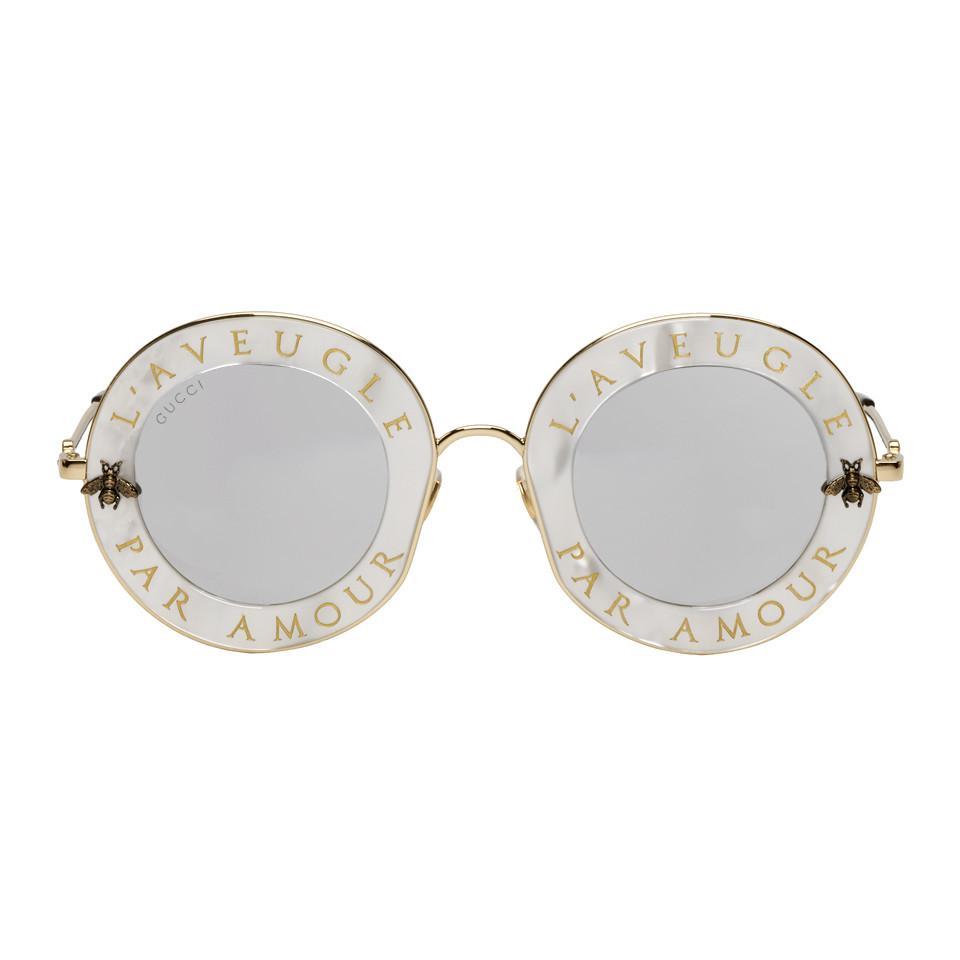 Lyst - Lunettes de soleil blanches LAveugle Par Amour Romantic Gucci ... 47ce8e74a8ee
