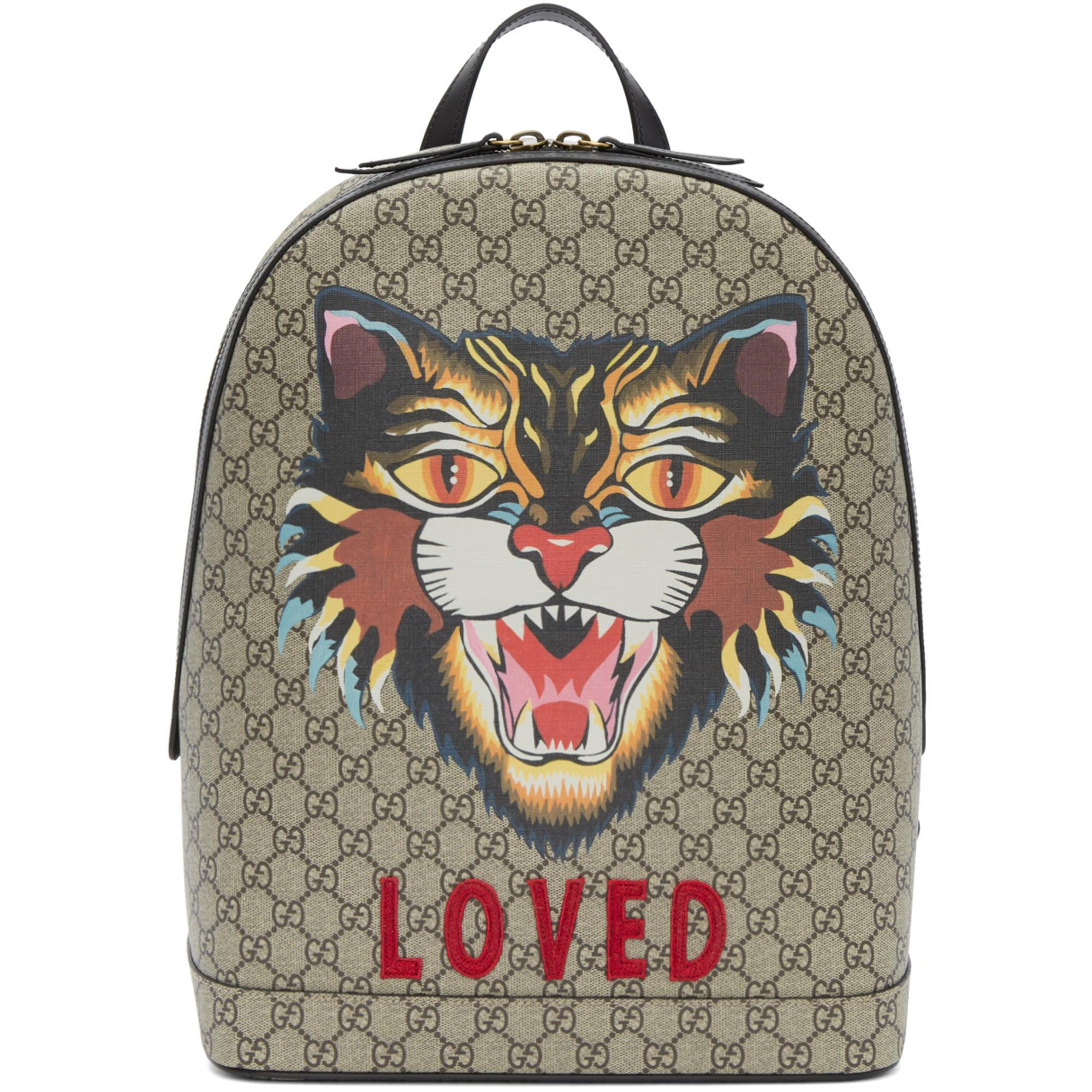 790c0d469e3 Gucci Beige Gg Supreme  loved  Angry Cat Backpack in Natural for Men ...
