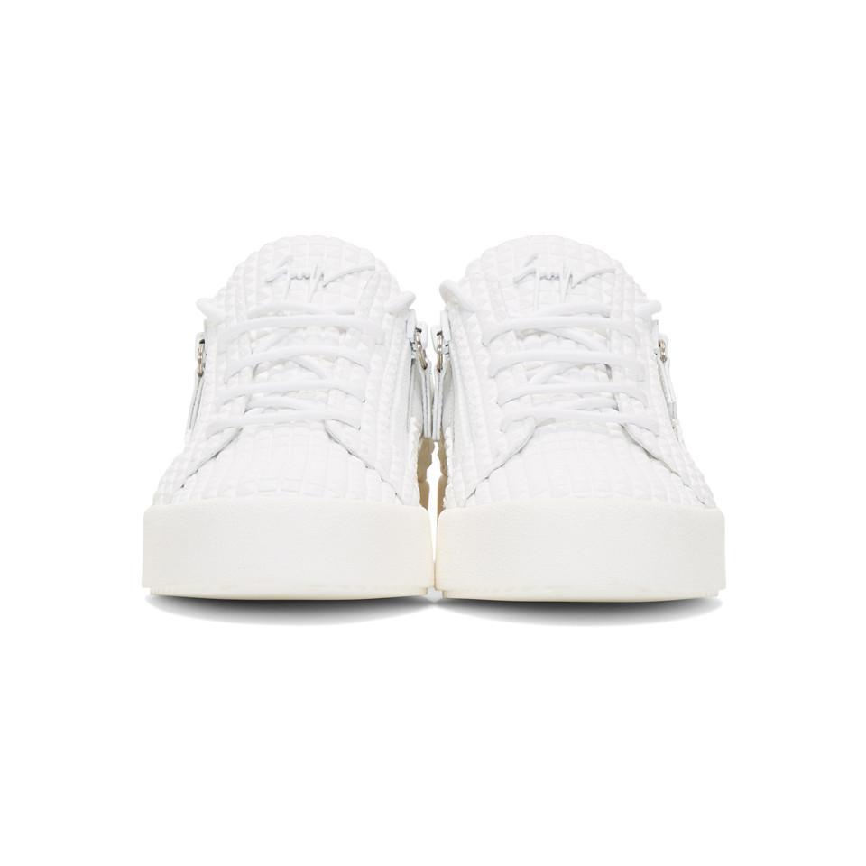 0281270e0dcff Giuseppe Zanotti - White Embossed Frankie Sneakers for Men - Lyst. View  fullscreen
