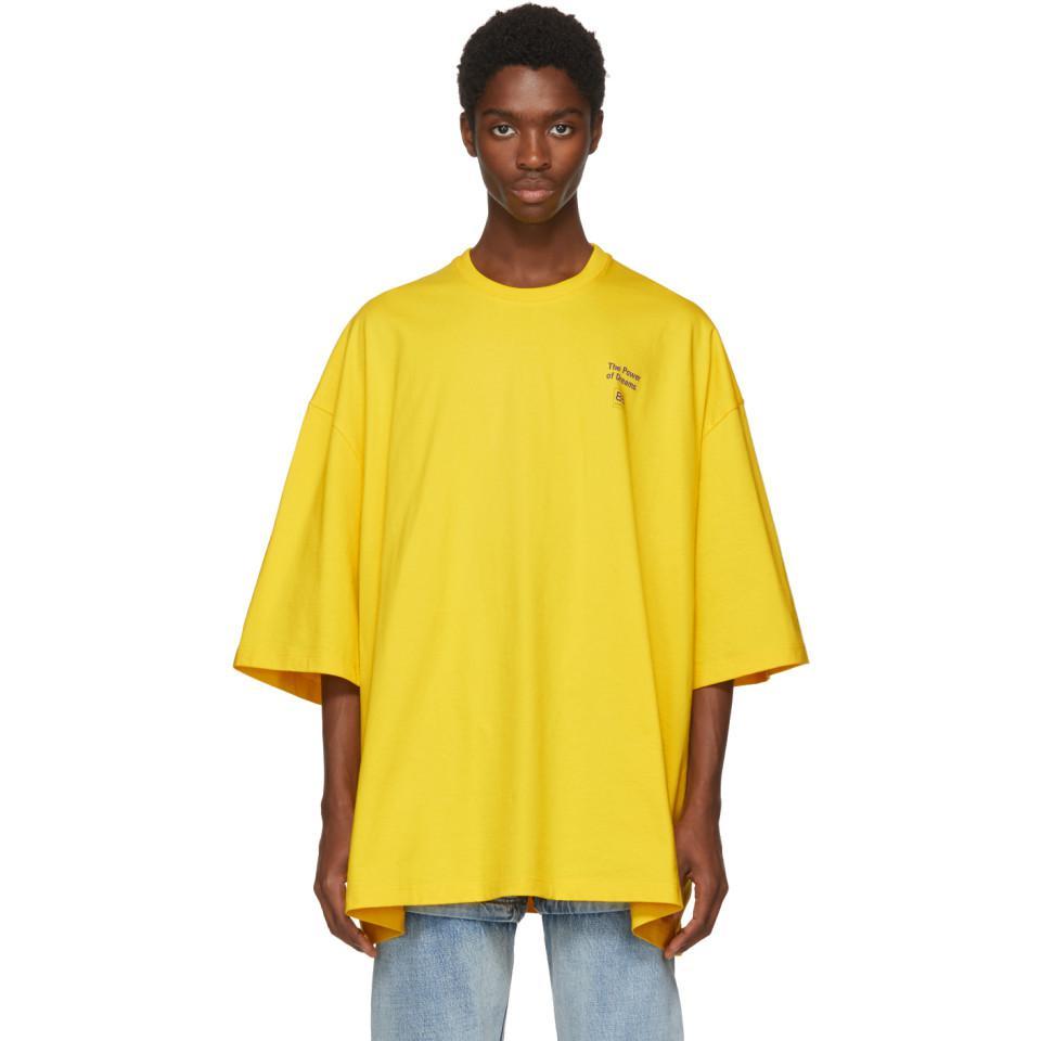 cc96b2998931 Balenciaga Yellow Power Of Dreams Big Fit T-shirt in Yellow for Men ...