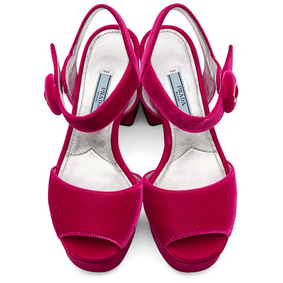 91a7730a6 Prada Pink Velvet Platform Sandals in Pink - Lyst