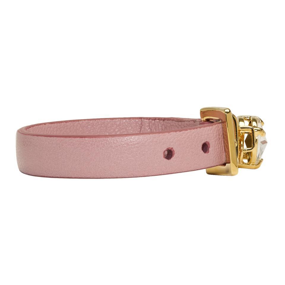 Pink Rhinestone Charm Bracelet Miu Miu e4n2Z