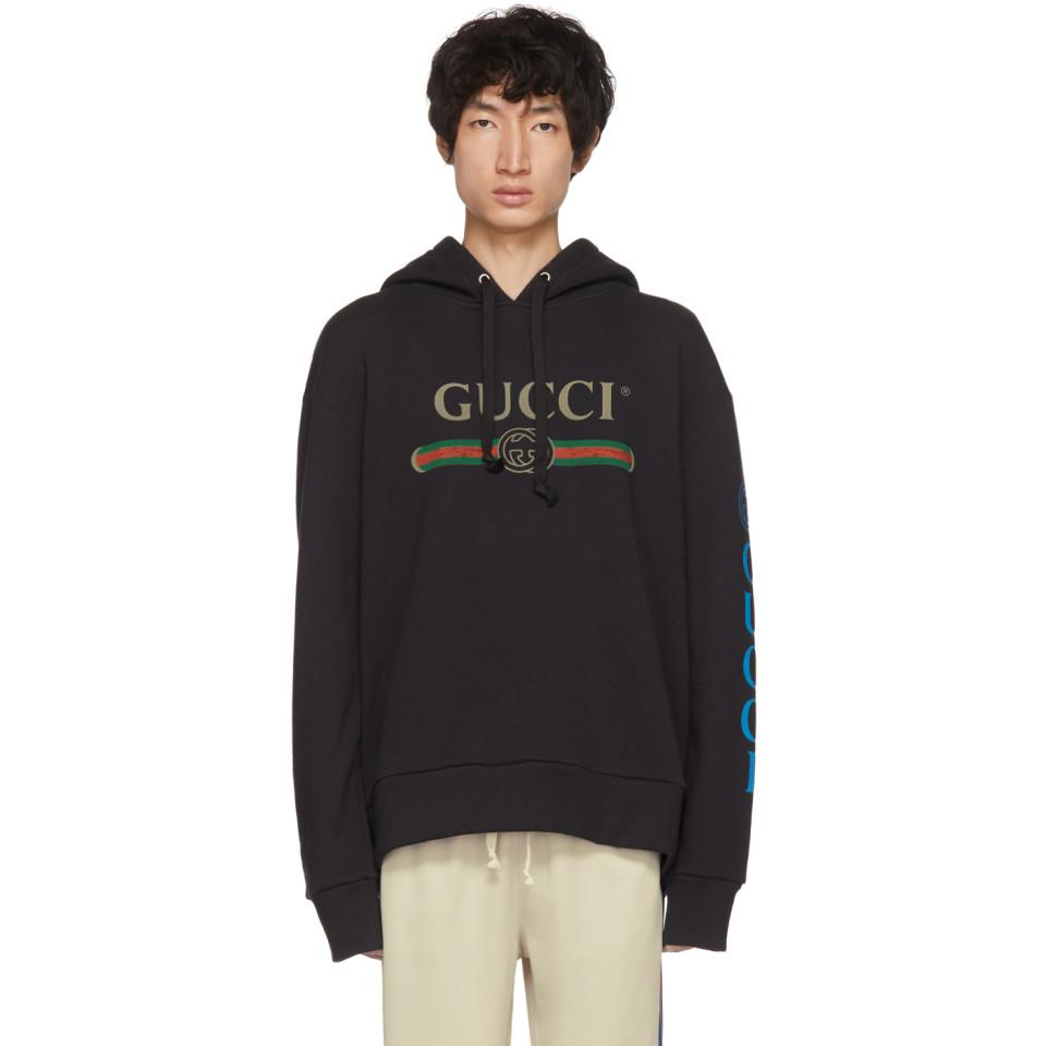 59486fa1e96 Gucci Black Embroidered Logo Hoodie in Black for Men - Lyst