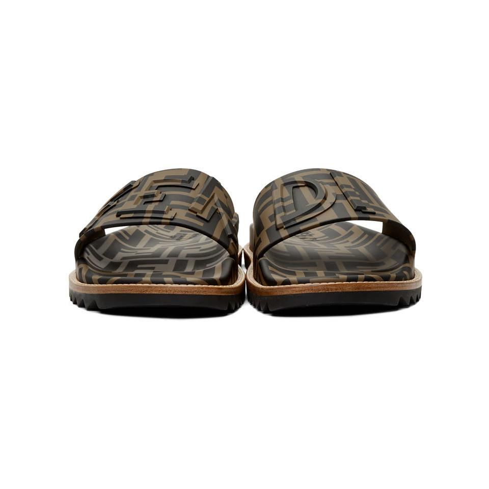 42bab30b0 Fendi - Brown Ff Slides for Men - Lyst. View fullscreen