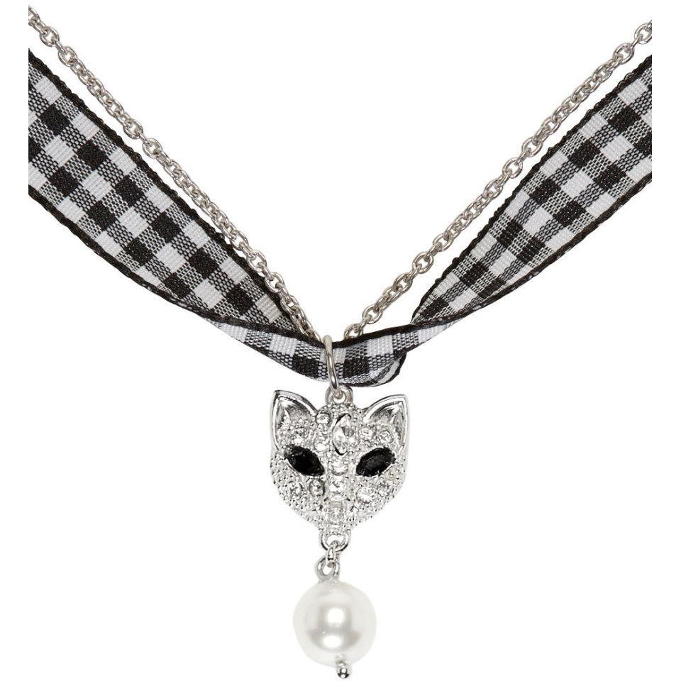 552e342b56b Lyst - Miu Miu Silver Cat And Pearl Charm Necklace