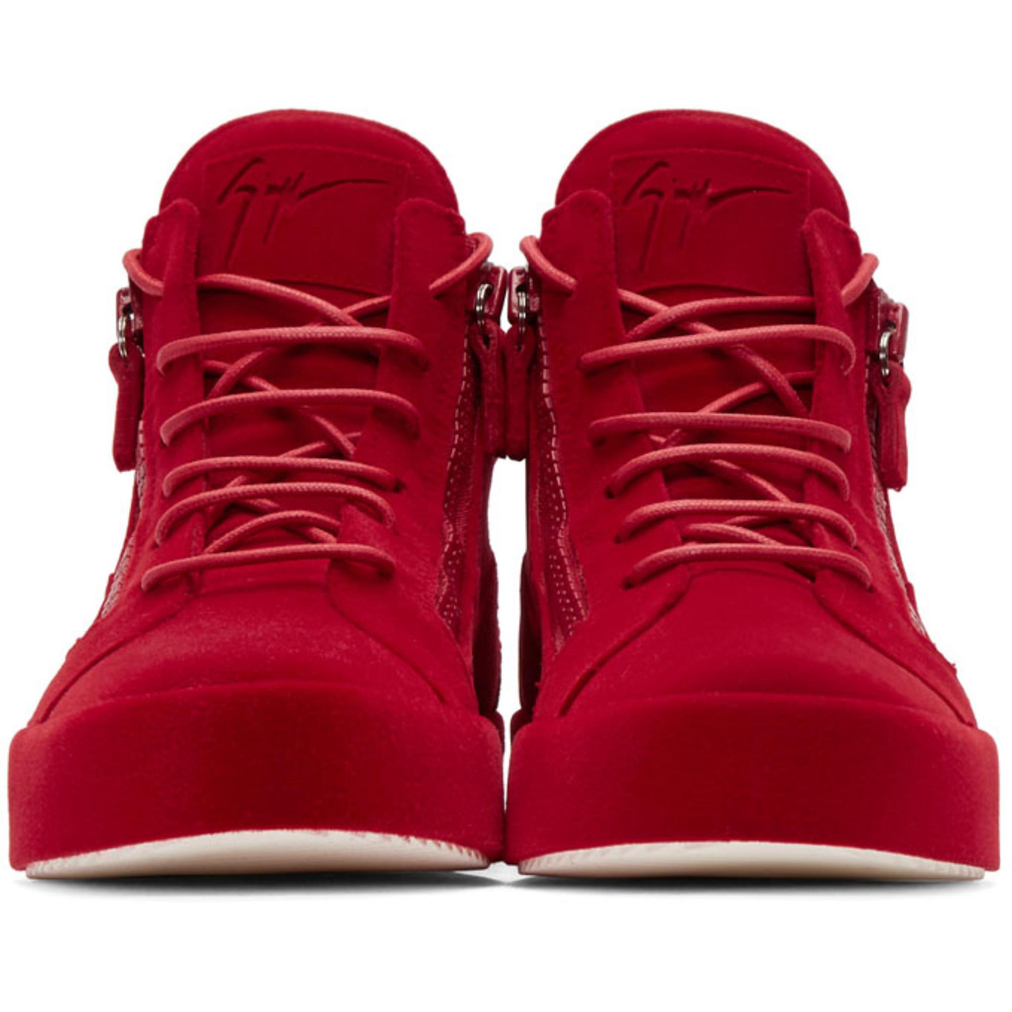 12cefb31979 Lyst - Giuseppe Zanotti Red Flocked May London High-top Sneakers in ...