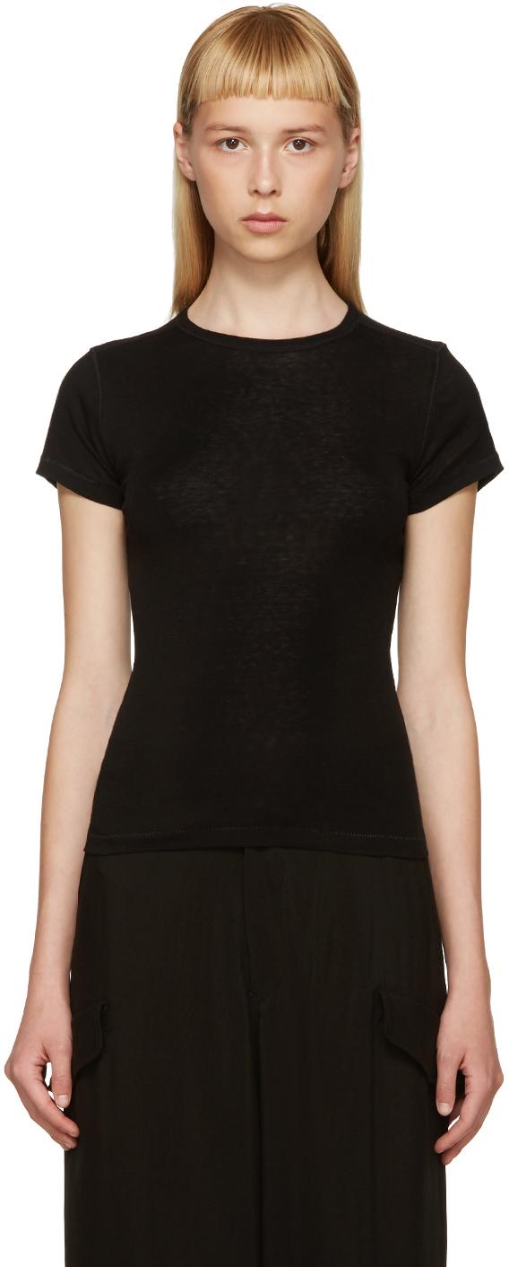 helmut lang black cotton cashmere t shirt in black lyst. Black Bedroom Furniture Sets. Home Design Ideas
