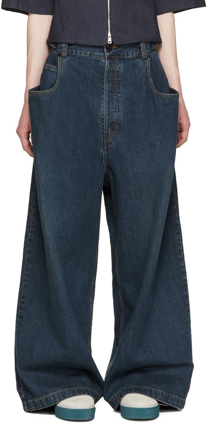 Juun J Indigo Wide Leg Jeans In Blue For Men Lyst