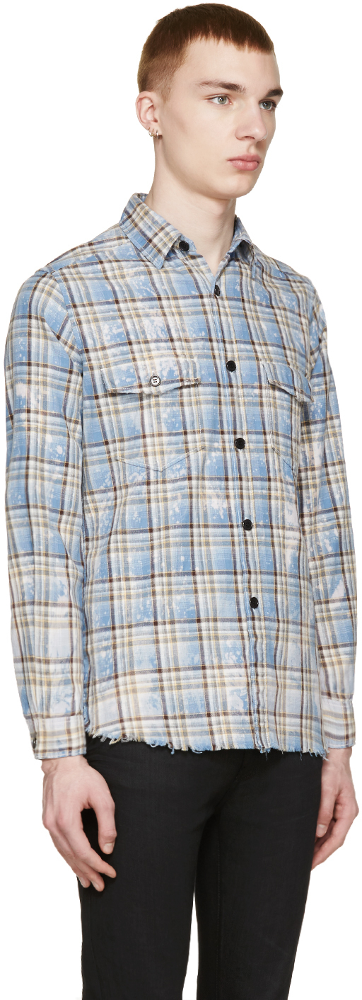 Saint laurent blue yellow check shirt in yellow for men for Saint laurent check shirt