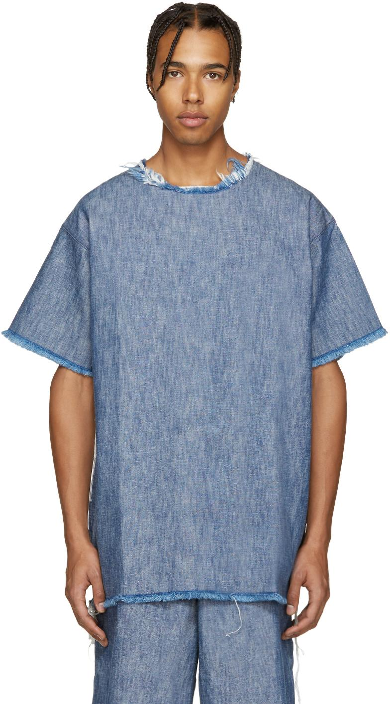 Marques'almeida Blue Denim Frayed T-shirt in Blue for Men ...