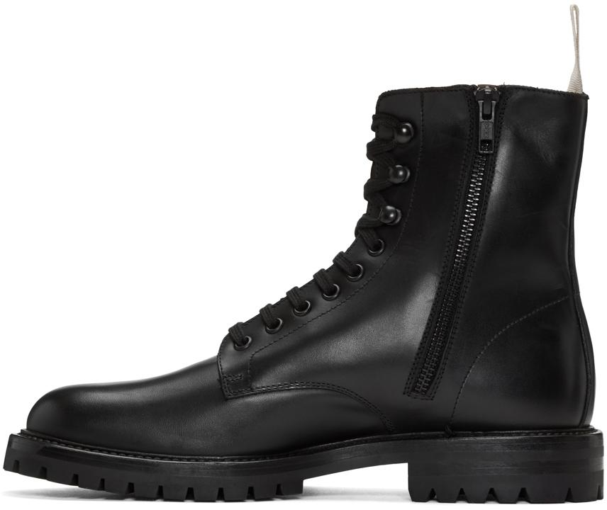 Common Projects Black Winter Combat Boots In Black For Men