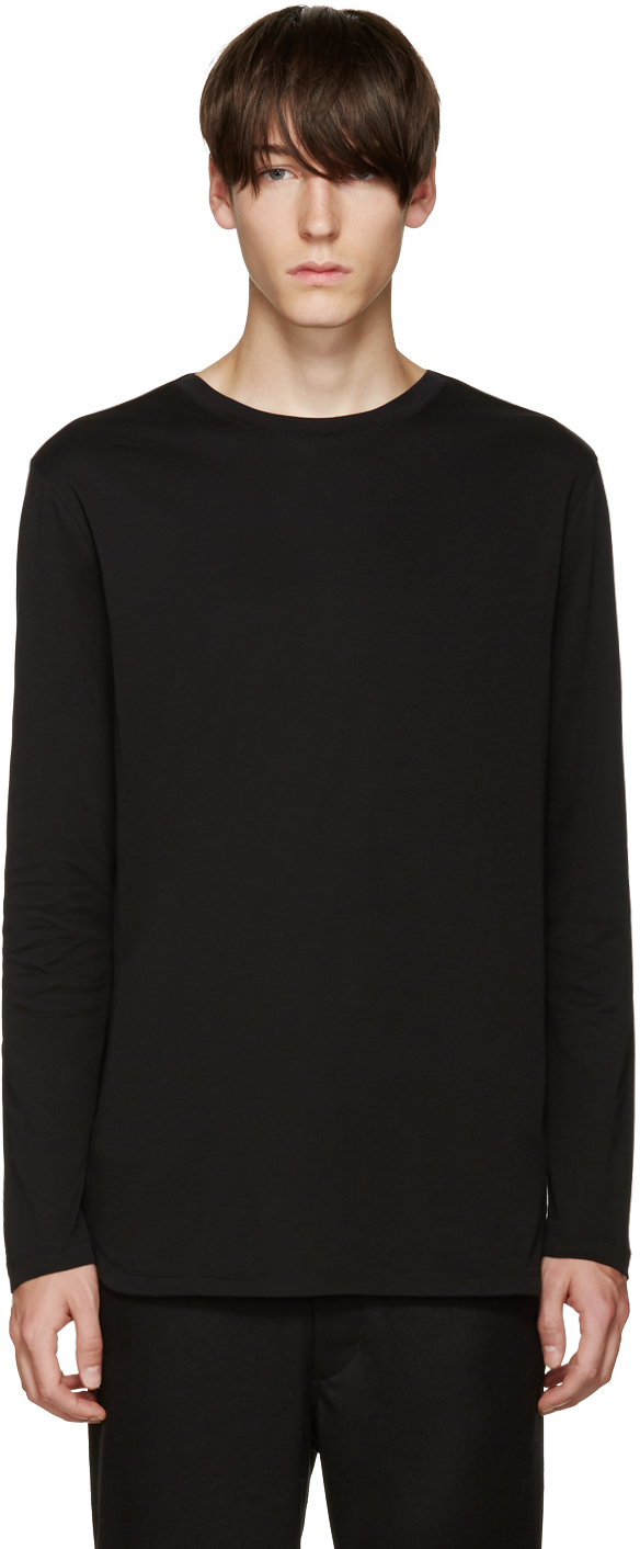 helmut lang black jersey t shirt in black for men lyst