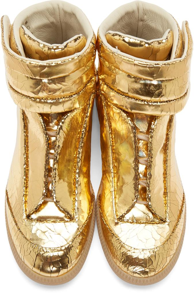 Maison Margiela Gold Cracked Future High Top Sneakers In