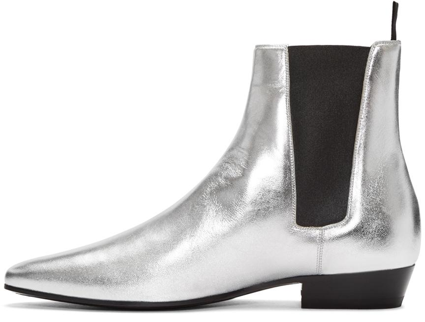 saint laurent silver devon chelsea boots in metallic lyst. Black Bedroom Furniture Sets. Home Design Ideas