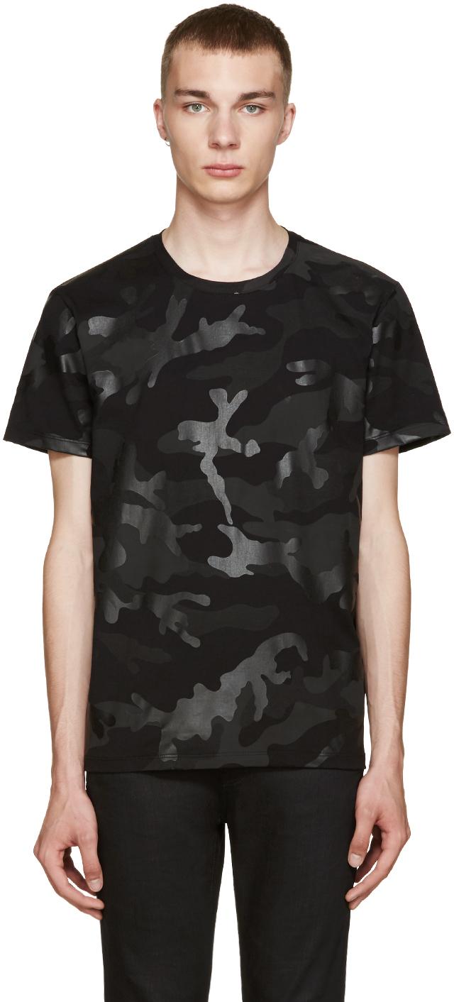 Valentino Black Camo T Shirt In Black For Men Lyst