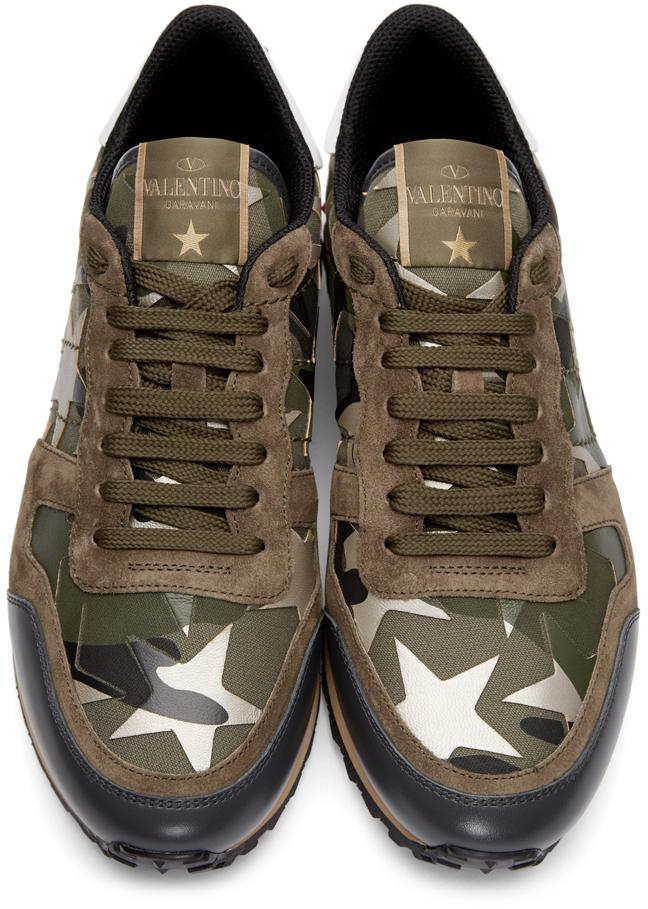 valentino green stars camo sneakers in green for men lyst. Black Bedroom Furniture Sets. Home Design Ideas