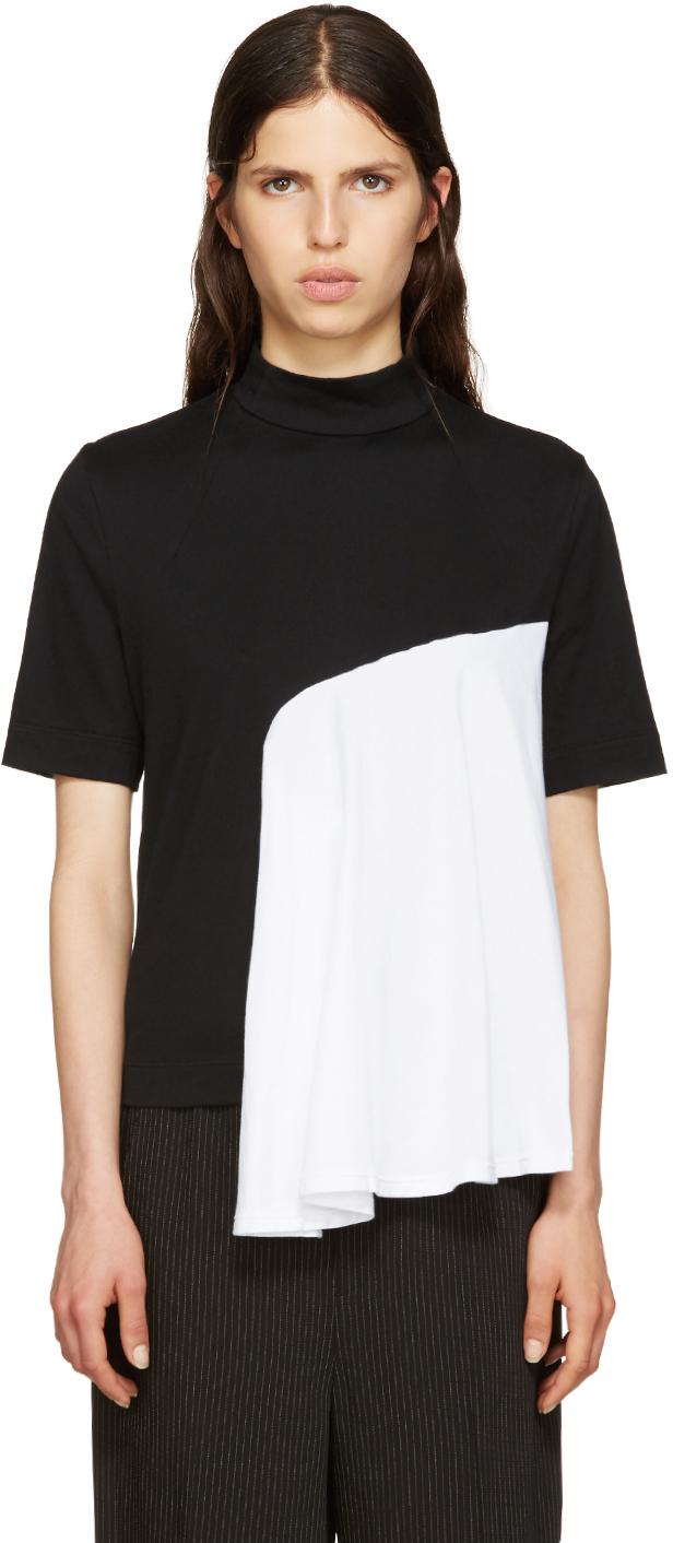 Facetasm Black Mock Neck T Shirt In Black Lyst