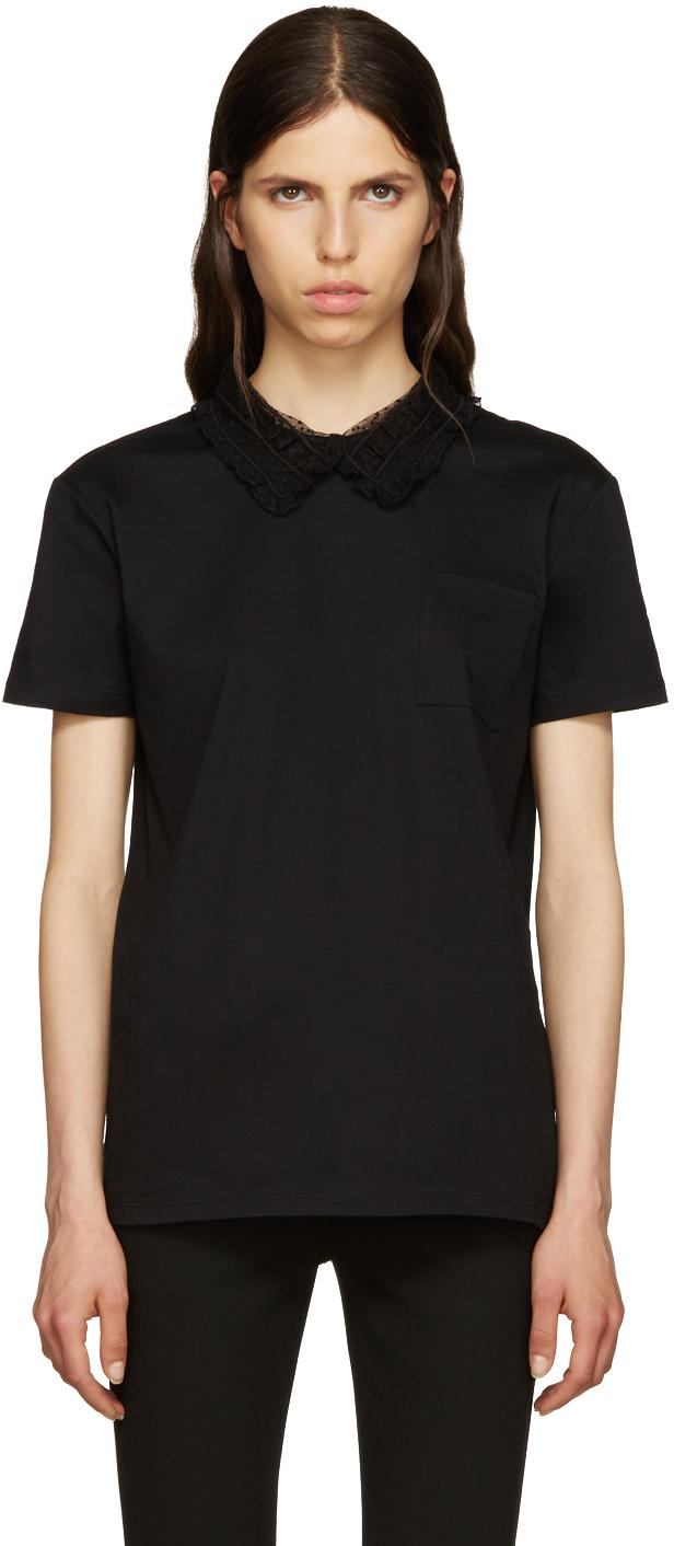 Miu miu black lace collar t shirt in black lyst for Miu miu t shirt