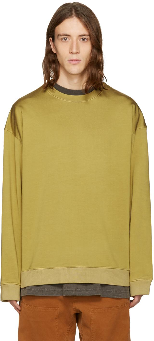Lyst yeezy green pleated jersey crewneck pullover in for Van heusen studio shirts big and tall