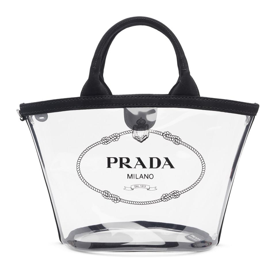 8f13130fc3ab Prada Transparent And Black Pvc Tote in Black - Lyst