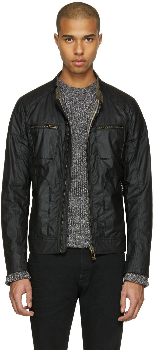belstaff black waxed cotton weybridge jacket in black for. Black Bedroom Furniture Sets. Home Design Ideas