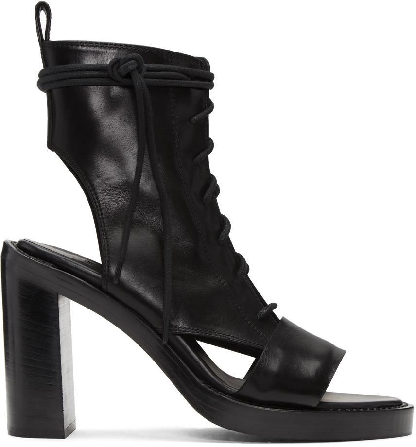 Black boot sandals - Ann Demeulemeester Black Leather Boot Sandals Lyst View Fullscreen