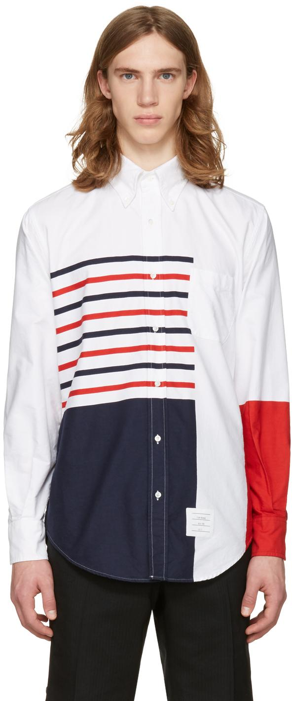 Thom browne white painted stripes classic shirt in white for Thom browne white shirt