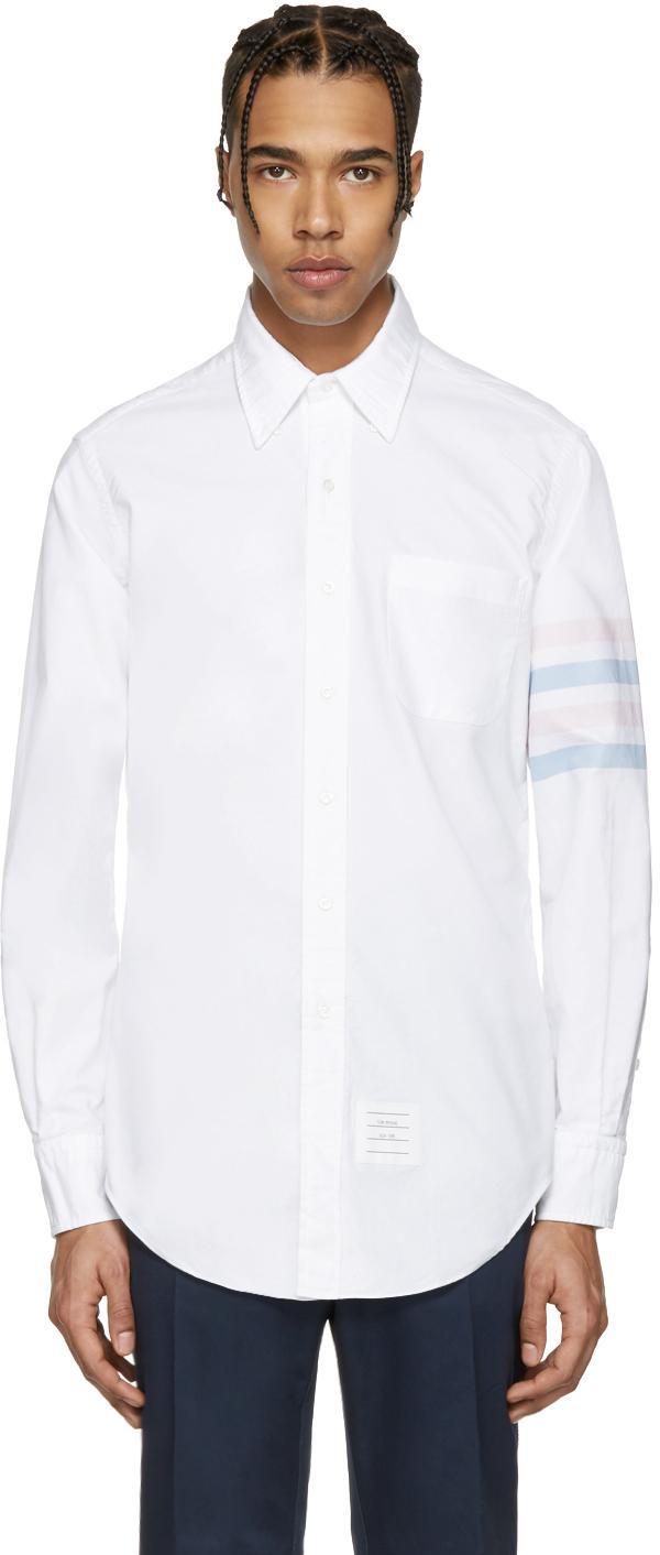 Thom browne white classic four bar shirt in white for men for Thom browne white shirt