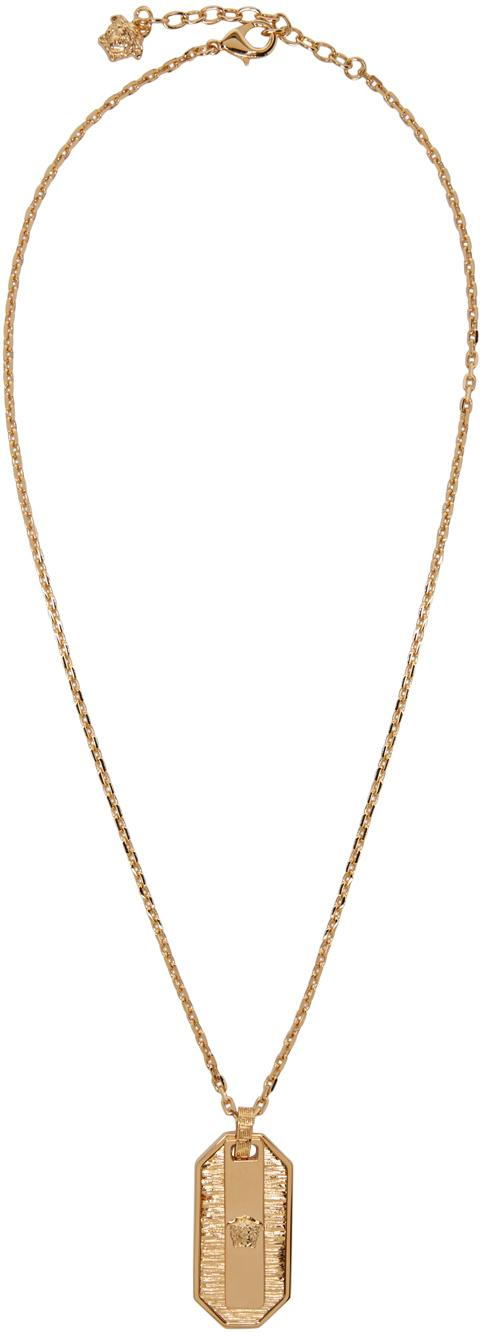Lyst Versace Gold Small Medusa Dog Tag Necklace in Metallic for Men