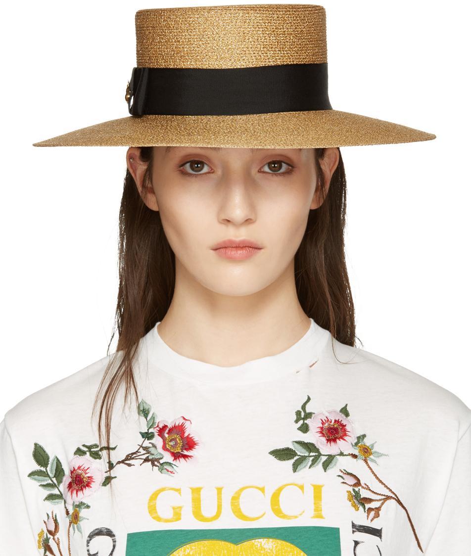 Gucci Gold Lurex Papier Hat in Metallic - Lyst 6f1fb4d08dfd